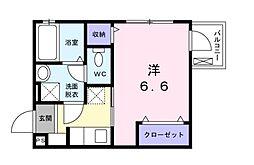 サンヒューレ目黒 3階1Kの間取り