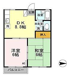 新潟県新潟市北区川西2丁目の賃貸アパートの間取り