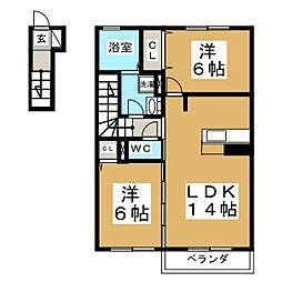 D−room上谷刈[2階]の間取り