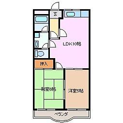 三重県四日市市日永5丁目の賃貸マンションの間取り