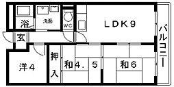 羽曳野ネオハイツ[2D号室号室]の間取り