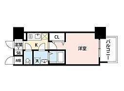 JR東海道・山陽本線 岸辺駅 徒歩4分の賃貸マンション 2階1Kの間取り