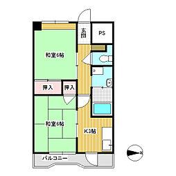 コーポヤマハネ 5階2Kの間取り