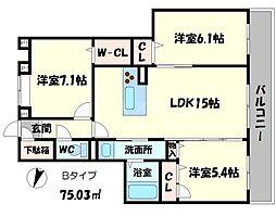シャーメゾン桃李 3階3LDKの間取り