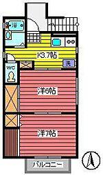 埼玉県さいたま市中央区大戸5丁目の賃貸アパートの間取り