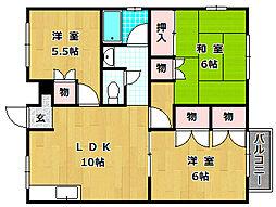 ラガーハイツIIB棟[1階]の間取り