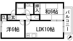 兵庫県伊丹市松ケ丘1丁目の賃貸アパートの間取り