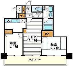 ライオンズマンション松屋町[9階]の間取り