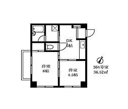 第一東京園マンション[304号室]の間取り