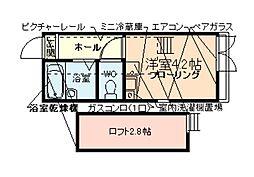 東京都大田区羽田3の賃貸アパートの間取り