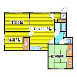 北海道札幌市東区北十条東11丁目の賃貸アパートの間取り