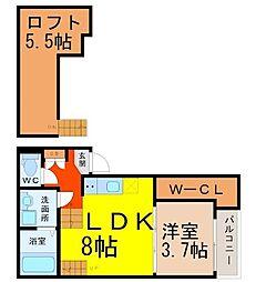 愛知県名古屋市緑区鳴海町字作町の賃貸アパートの間取り