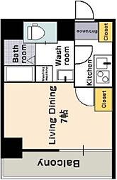 阪神本線 福島駅 徒歩1分の賃貸マンション 4階1Kの間取り