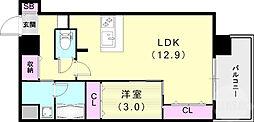 スプランディッド王子公園 7階1LDKの間取り