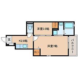 静岡県藤枝市下青島の賃貸アパートの間取り
