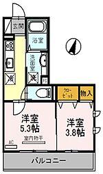 埼玉県桶川市若宮2丁目の賃貸アパートの間取り