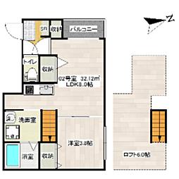 福岡県福岡市西区愛宕4丁目の賃貸アパートの間取り