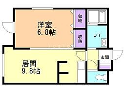 ChouChou北広島壱番館 1階1DKの間取り
