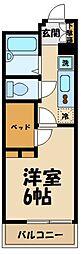 JR横浜線 淵野辺駅 徒歩10分の賃貸マンション 2階1Kの間取り