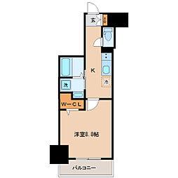 仙台市地下鉄東西線 宮城野通駅 徒歩9分の賃貸マンション 8階1Kの間取り