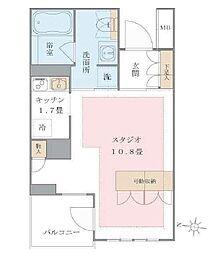 東京臨海高速鉄道りんかい線 東雲駅 徒歩11分の賃貸マンション 2階1Kの間取り