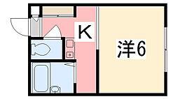兵庫県姫路市飾磨区構の賃貸アパートの間取り