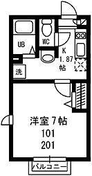 神奈川県横浜市南区白金町1丁目の賃貸アパートの間取り