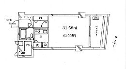 東向きバルコニー有、31平米のお部屋です