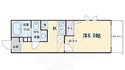 Castle Shinraku(キャッスルシンラク) 2階1Kの間取り