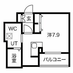名鉄名古屋本線 金山駅 徒歩8分の賃貸マンション 8階ワンルームの間取り