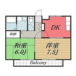 千葉県千葉市中央区道場北2丁目の賃貸アパートの間取り