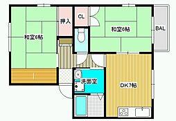 メゾンたつみ A棟[2階]の間取り