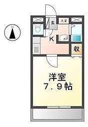 愛知県あま市甚目寺郷浦の賃貸アパートの間取り