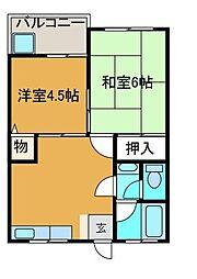 ハイツハヅミ[1階]の間取り