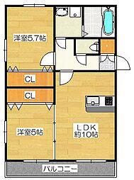Casa朝倉街道II[2階]の間取り
