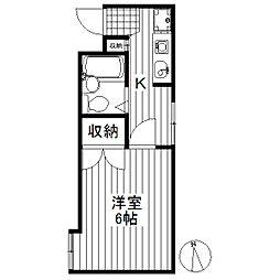 東京都世田谷区若林2丁目の賃貸アパートの間取り