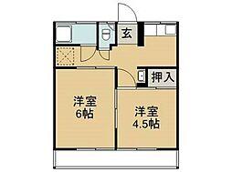 徳島県徳島市上助任町天神の賃貸アパートの間取り