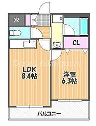 JR山陽本線 西川原駅 徒歩5分の賃貸マンション 3階1LDKの間取り