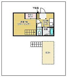 福岡県福岡市城南区友丘1丁目の賃貸アパートの間取り