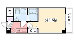 阪神本線 甲子園駅 徒歩5分の賃貸マンション 4階1Kの間取り