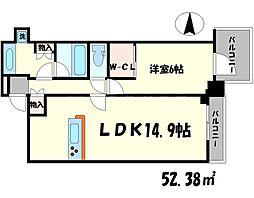 シエリアタワー千里中央 21階1LDKの間取り