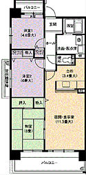 URアーバンラフレ虹ヶ丘西4号棟[8階]の間取り