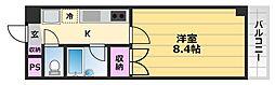 白鷺TKハイツ1号館 2階1Kの間取り