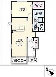 ルミナスガーデン B[1階]の間取り