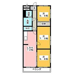 三重県四日市市ときわ1丁目の賃貸マンションの間取り