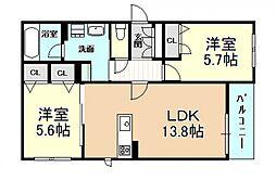 (仮称)新築シャーメゾン法善寺PJ 2階2LDKの間取り