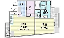 W.O.B NISHIUMEDA 2階1LDKの間取り