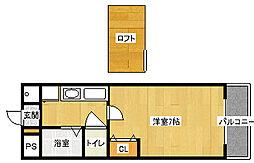 オクト白鷺[4階]の間取り