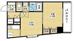 ノルデンタワー新大阪 10階1LDKの間取り