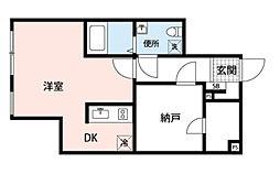 都営新宿線 曙橋駅 徒歩5分の賃貸マンション 地下1階1DKの間取り